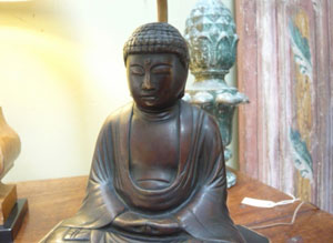 Pair of early 20th c. bronze seated Buddha figures lamps