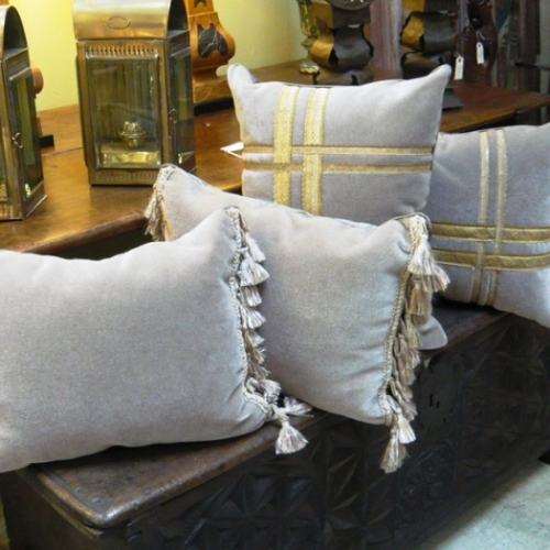 Pair French Fauchere Mohair Velvet Pillows