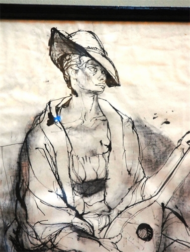 20th c. Pen and Ink Drawing by Listed Artist