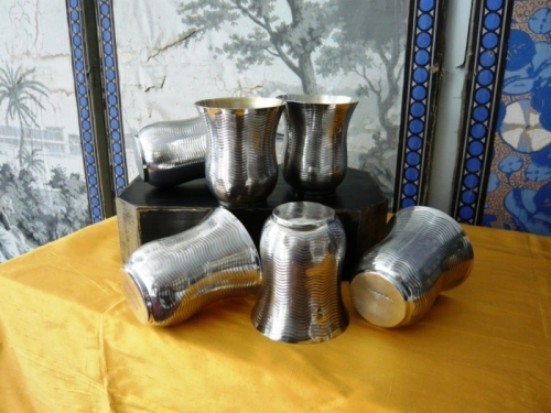 19th c. Sterling Beakers-Set of 6