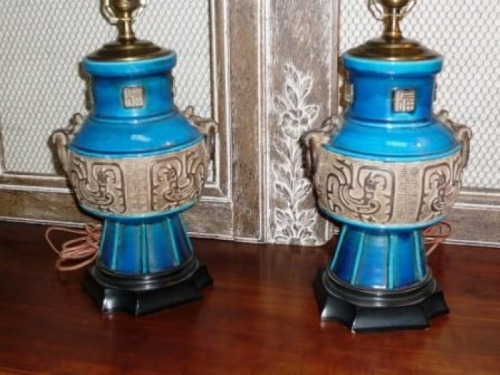 Pair  Early  20th c. Majolica Lamps