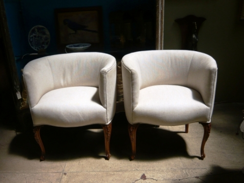 Pair Barrel Back Chairs