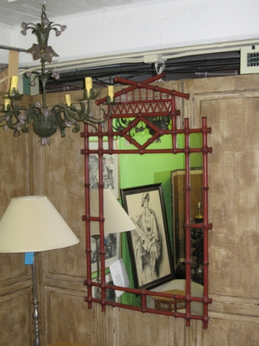 Large Chinoiserie Faux Bamboo Mirror