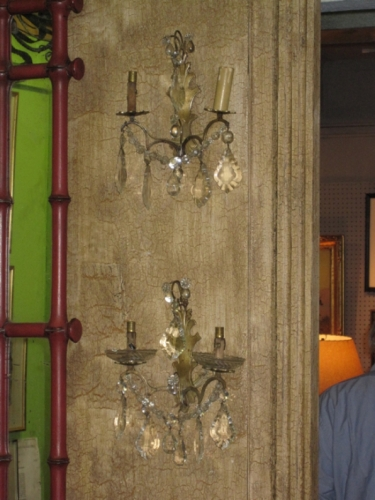 Pair Crystal and Brass Sconces