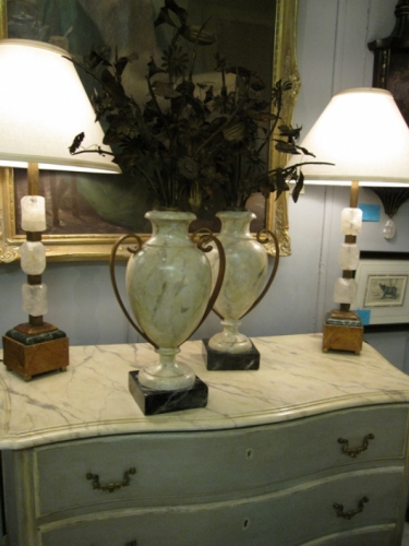 Pair of French Faux Marble & Tole Flower Urns