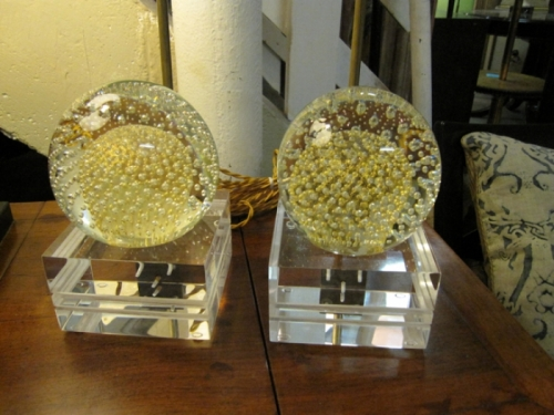Murano Somerso Bulicante and Lucite Lamps