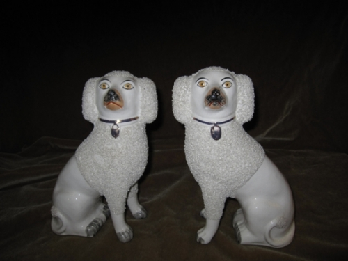 Staffordshire Poodles, Large 19th c.