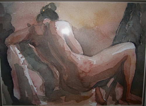20th c. Nude Water Color