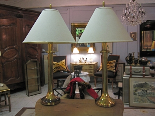 Tall Brass Lamps, c. 1980