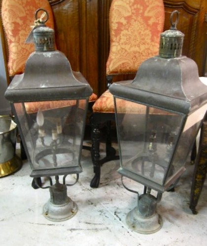 Pr. Vintage Patinated Brass Lanterns