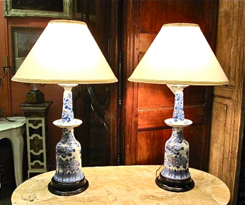 Pair Marbro Blue & White Porcelain Lamps