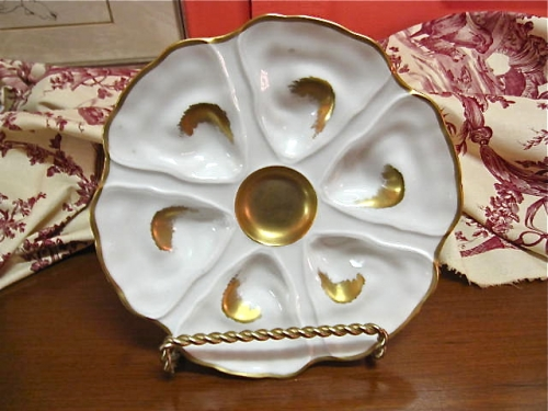 Antique Gilt Porcelain Oyster Plate