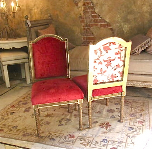 Pair Louis XVI Style Side Chairs with Chinoiserie