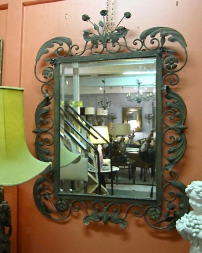 French Iron and Tole Deco Mirror