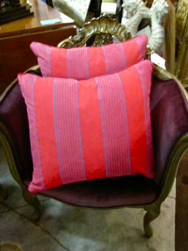 Pair Antique French Ticking Pillows, Double Sided