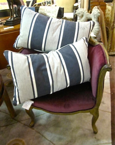 Antique Blue/Black French Ticking Pillows