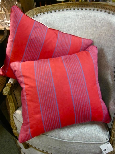 Pair Antique French Ticking Pillows