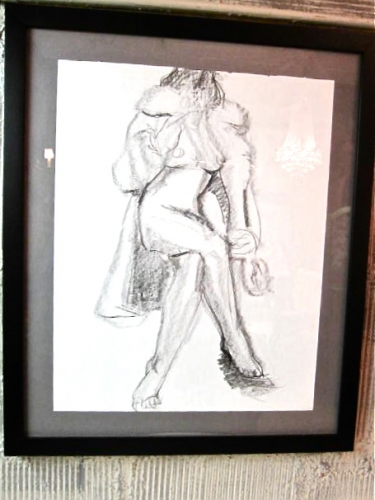 Pair Ecole des Beaux Arts Figural Charcoal Drawings