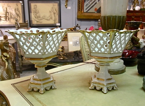 Pair Paris Porcelain Footed Baskets