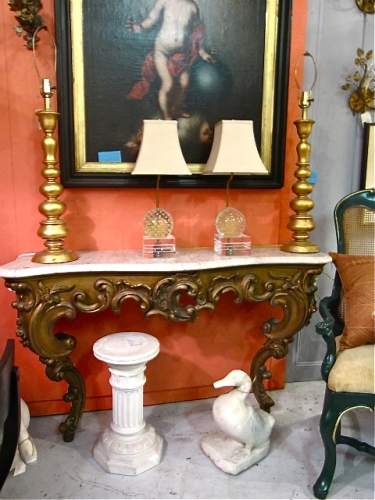 Gilt Marble Top Console c. 1880