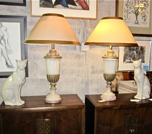 Pair Large Marbro Alabaster Urn Lamps