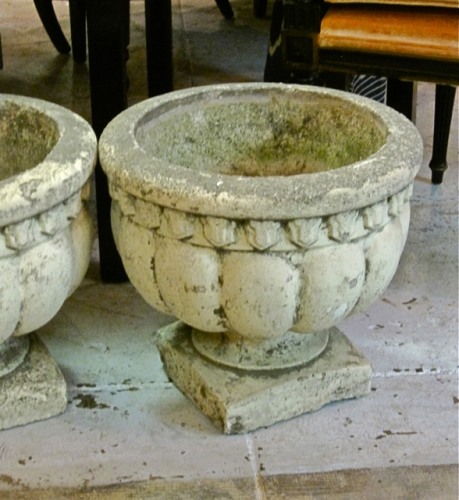 Pair Early 20th c. Concrete Garden Urns