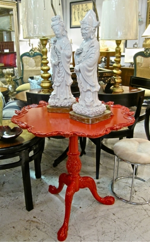 Chinese Red Lacquer Chippendale Style Table