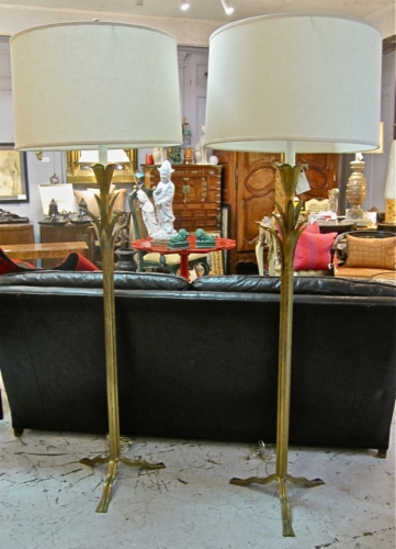 Pr. French Gilt iron Floor Lamps