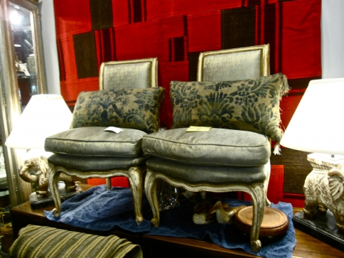 PAIR LOUIS XV SLIPPER CHAIRS