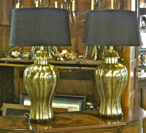 Pair Large Frederick Cooper Brass Lamps, c. 1970-80