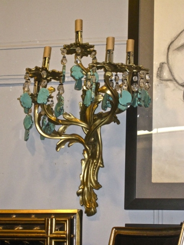Louis XV and Turquoise Bronze Sconces