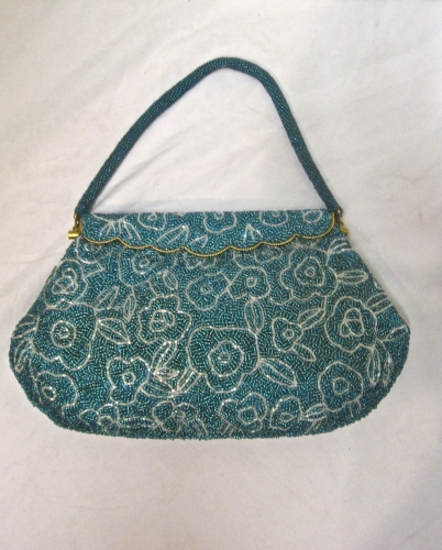 VINTAGE TURQUOISE AND SILVER BEADED EVENING BAG
