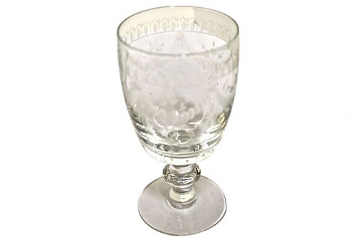 Lead Crystal White Wine Stemware, Czechoslovakia c. 1950-60