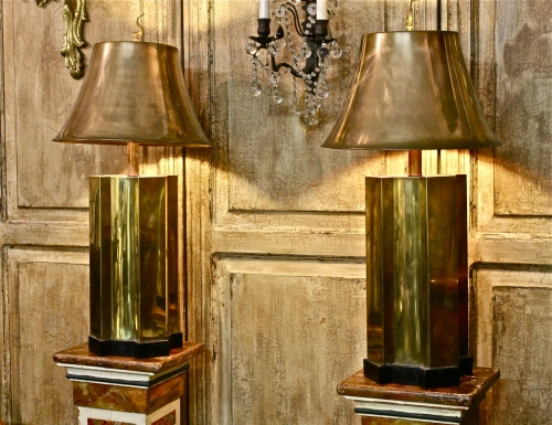 PAIR JAMES MONT STYLE BRASS PAGODA LAMPS | SOLD ITEMS