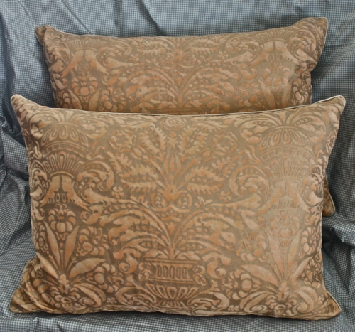PAIR VINTAGE FORTUNY PILLOWS IN CAMPANELLE c. 1960's