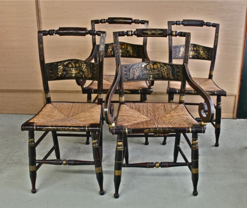 Etonnant SET OF 10 ANTIQUE HITCHCOCK CHAIRS, C. 1850