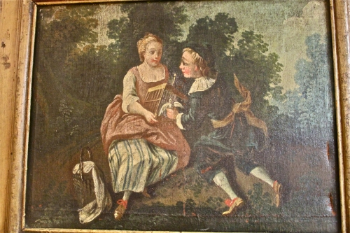 18TH C. PASTORAL PAINTING OF YOUNG COUPLE WITH DOVE