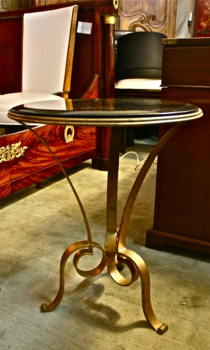 PAIR FORGED IRON & GRANITE TABLES