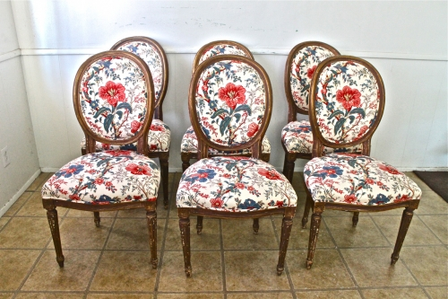 SET OF 6 LOUIS XVI STYLE DINING CHAIRS