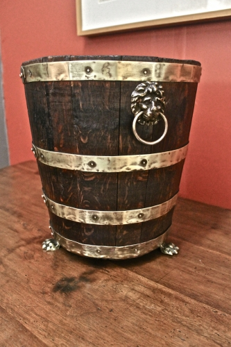 ENGLISH REGENCY OAK AND BRASS WINE BUCKET c. 1810-20