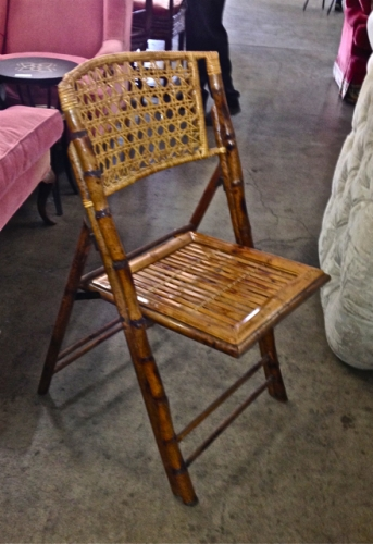 SET of 8 FRENCH BAMBOO & CANE FOLDING CHAIRS, DECO STYLE
