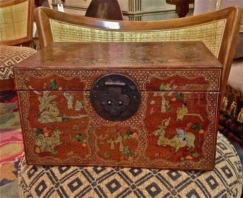 CHINESE PAINTED PIGSKIN SMALL TRUNK/BOX