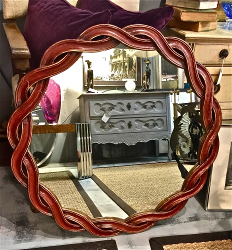 ITALIAN RIBBON CARVED ROUND MIRROR