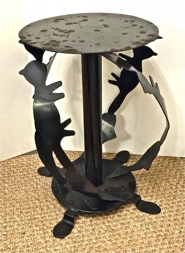 PUCCI DE ROSSI STYLE VINTAGE CAT & FISH IRON TABLE