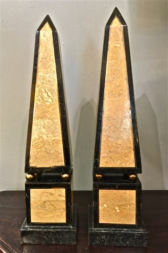 PAIR LARGE MAITLAND-SMITH MARBLE OBELIKS c.1970-80