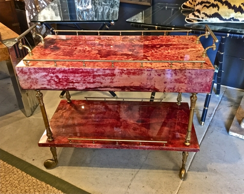 ALDO TURA RED LACQUERED PARCHMENT BAR CART