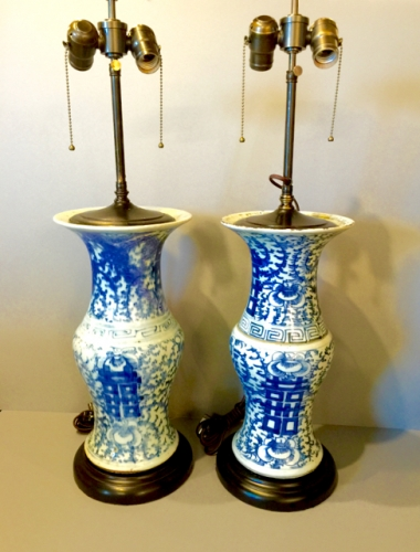 PAIR BLUE & WHITE LATE CHING VASES AS LAMPS C. 1880