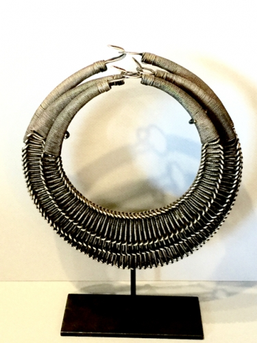 SET OF 3 HEAVY HMONG WOVEN SILVER WIRE NECKLACES