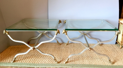 PR. JANSEN-STYLE STEEL & BRASS SIDE TABLES c. 1970