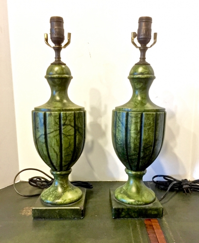 PAIR ITALIAN GREEN ALABASTER URN FORM LAMPS
